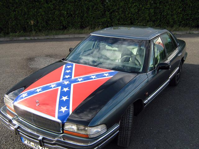 Designlackierung Südstaatenflagge auf einem Oldtimer
